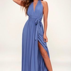 NWT LULU's Magical Moment Halter Blue Dress XS